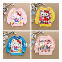 Wholesale 1 lot=4 pics 2014 cartoon smiling kids children clothing outwear spring autumn boys girls 3 colors hello kitty KT