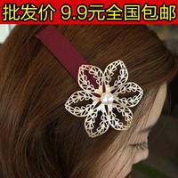 3128 accessories cutout gold pearl big flower hairpin side-knotted clip hair accessory hair accessory female