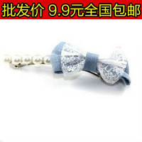 3156 accessories fabric lace denim pearl bow hairpin side-knotted clip hair accessory hair accessory