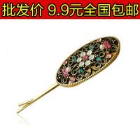 0145 accessories vintage cutout carved small fan diamond oval shape side-knotted clip hairpin