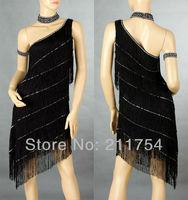 Girls Kids Salsa&Tango&Tutus Ballroom One Shoulder Fringe Latin Dance Dress 173