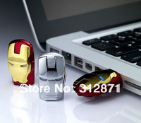 Free shipping 2GB 4GB 8GB 16GB 32GB 64GB Wholesale Sale Flawless Avengers Iron Man LED Flash USB Flash 2.0 Memory Drive Stick