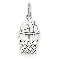 Free Shipping Sporty Silver plated 2014 Fancy basketball in a basket Sport pendant charms 12pcs a lot