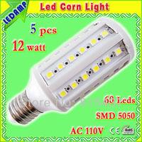 5 pcs/lot free shipping 360 degree E27 60 SMD 5050 LED Light Corn Bulb Warm White 12W Energy Saving Lamp ac 110v