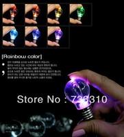 Novelty LED Light Bulb Shaped Keychain Flashlight Color changing Led Ring Keychain