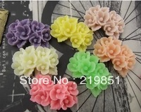 Free shipping Wholesale DIY accessory (mix color)17*26mm flat back resin flower cameos cabochon jewelry findings SZ125