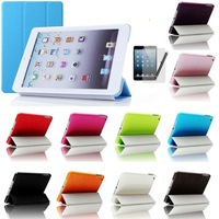 10 colors Tri-Fold Slim Smart Magnetic Cover Case for Apple iPad Mini Sleep Wake with stand function