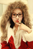 2013 autumn and winter fur collar super berber fleece red wadded jacket fluffy cotton overcoat  /Free shipping