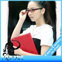 50pcs/lot Free EMS Shipping 2013 New Fashion Hidden Magnetic Snap Closure Cartoon Case for iPad2/3/4 (2P029)