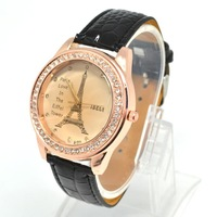 2013hot sales Vintage Men Woman's PU Leather Band iron tower Bracelet Bangle Wrist Watch,black