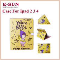 New Cartoon PonyBrown Table Stand Case for ipad 2 Dormant Smart Cover Holder Case for iPad 2/3/4 Free shipping