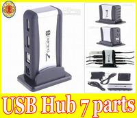 USB 7-Port HUB Powered+AC Adapter Cable High-Speed Black/Silver US/UK/AU/EU Plug