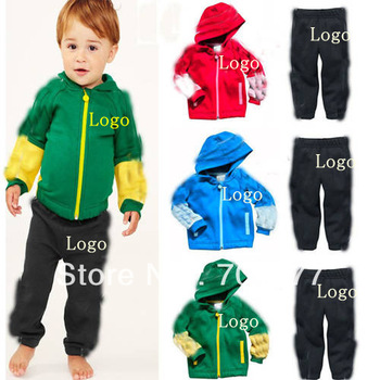 2013 Autumn 2 Pcs Brand Logo Patchwok Thin Long Sleeve Sport Coat + Pants Kids outerwear Casual Children Clothing Set 6#13082304