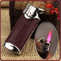 Free shipping Leather Wrapped Sanskrit Jet Hot Pink Flame Cigarette Cigar Gas Butane Lighter