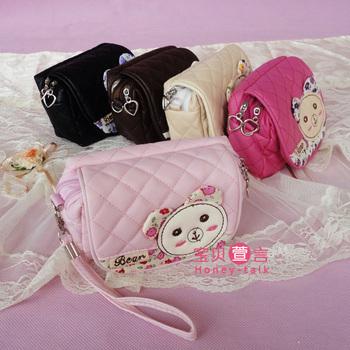 Korea cute cartoon rabbit PU leather wallet double summer small camera bag mobile phone baghandbag