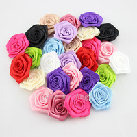 Free shipping pink satin ribbon rose flower  handmade rolled Rosettes for hair clip or headband 120pcs/lot 12color mix color
