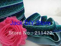5 Yards Green Blue Glitter Elastic 5/8 Inch  for headband Hair Accessories