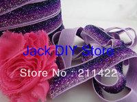 5 Yards Pink Purple Glitter Elastic 5/8 Inch  for headband Hair Accessories