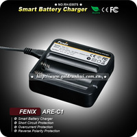 1PC Fenix ARE-C1 3.7v AC Smart Rechargeable Battery Charger 18650 + Car Cord Adaptor