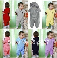 baby hooded conjoined clothes climb clothes with short sleeves jumpsuit 7 colors