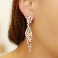 The bride accessories female rhinestone wings design long earrings 925 pure silver needle drop earring