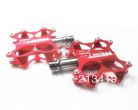 High quality 2pcs Red Bike MTB BMX Flat Platform Pedals CNC Titanium Spindle Ti Axle