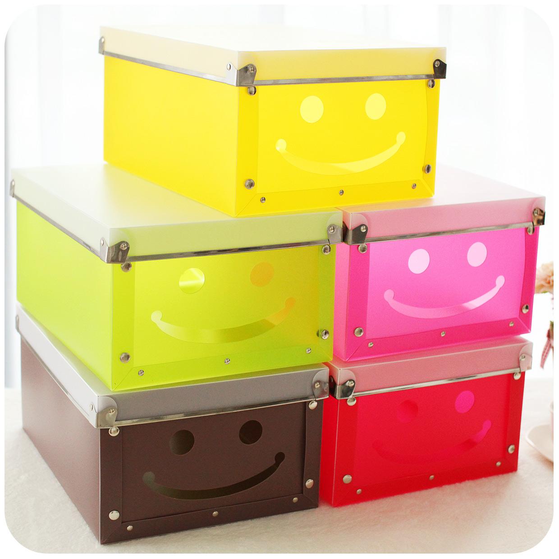 Hearts smiley plastic diy storage box storage box finishing large folding storage box free shipping