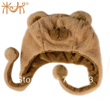 Cartoon plush hat animal cap bear hat girls child gift day gift