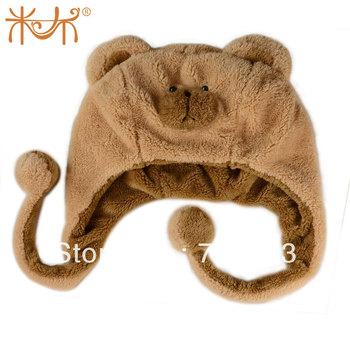 Cartoon plush hat animal cap bear hat girls child gift day gift
