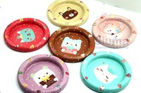 Cute cat coasters tinplate material stylish home set 6pcs free shipping