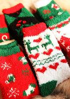 5 winter thermal christmas series thickening towel socks floor socks female