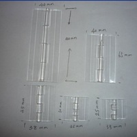 Free shipping open size(65*40mm)crystal clear plastic piano hinges/gemel
