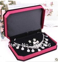 Free Shipping 2pcs High Quality Necklace Earrings Ring Set Box Delicate Velvet Jewelry Set Packng Box