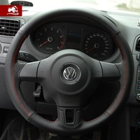 Passat cc carshow to the volkswagen lavida new bora polo genuine leather suitcase sew-on steering wheel cover