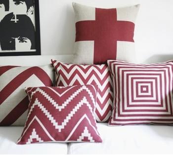 Vintage style print pillow case red geometric pillows decorate for a sofa 45 45 cm 3 pcs/lot set