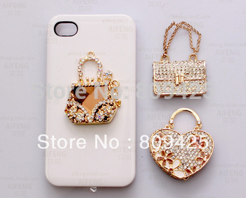 Free shipping!Min.order is $15 (mix order) crystal Perfume bag sticker cell phone sticker,phone case decorations 6pcs DY294