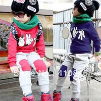 Hot Sale 2013 Korean Spring and Autumn Children's Suit T-shirt pants 2 piece suit big toe Hip Hop Style 4 sets lot ZY1014