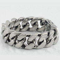 20MM CUSTOMIZE SIZE 316L Stainless Steel  Wide Heavy Curb Chain Bracelet   Mens bracelet HB03