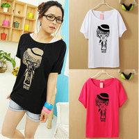 G5 Free shipping - Super Cute Cat Shirts for lady girl Spring Summer Autumn Women's Vivi Loose Cat short sleeve T shirt