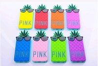 New Fruit Case,PINK Pineapple With Sunglasses luminous Silicone Soft Cover Case For Iphone 5 Case,Free Shipping
