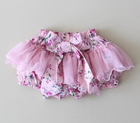 Wholesale girls lace floral shorts fashion children girls big bow short shorts 5pcs/lot