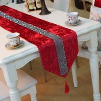 Simple&Fashion Quality Red Color Velvet Small Rhinestone Strip Table Runner Tablecloth/Tablecover/Bed Flag Customizing Accepted