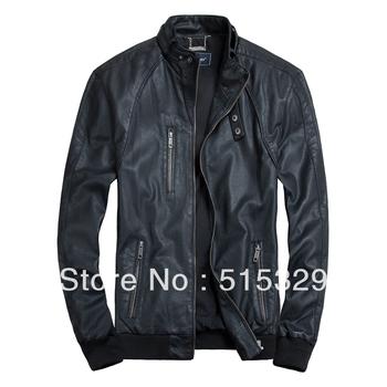 THOOO fashion cool gentlemen pu faux leather classic slim motorcycle jacket coat  black brown 7 sizes high quality TM201309009