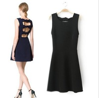 CL772 European Style Brand Retro Elegant Sexy Slim Bow Hollow Out  Dress Spring Summer Fall Women Lady Wear Free Shipping