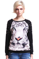 Free Shipping 2013 New Fashion Women Tiger Face Animal Printing Rivets Stud Shoulder Casual Sweatshirt T-shirt Tops Hot
