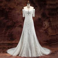 Slit waist a small train soft screen paillette handmade beads back V-neck half sleeve bride actual wedding dress gown