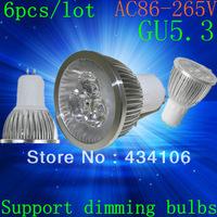 Free shipping 6pcs/lot High power GU5.3 15W 12W 9W 220v Dimmable Light lamp Bulb LED Downlight Led Bulb Warm/Pure/Cool White