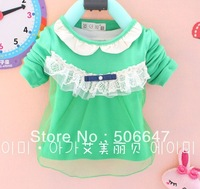 2013 with the new brand children's clothing han edition lace collar girls long-sleeved T-shirt of the girls