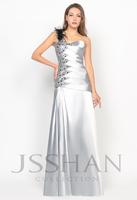 11P020  Feather One Shoulder Rhinestoned Elastic Woven Satin Gorgeous Luxury Unique Prom Evening Dress