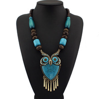 Fashion Tibetan Style Wood Chains Resins Big Owl Necklaces Statement Jewelry Perfect Match For Dress CE1272